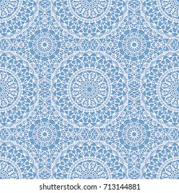 Seamless boho syle pattern with crochet lace round motifs
