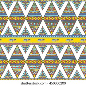 Seamless boho tribal rhombus background. Endless geometric pattern. Native American indigenous ornamental texture with feathers and ornament diamonds.