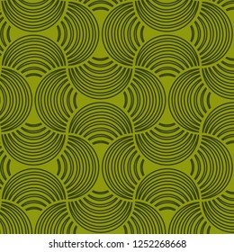 Seamless Bold Moss Green Abstract Structured Striped Petals Two-Tone Green Background Vector Pattern