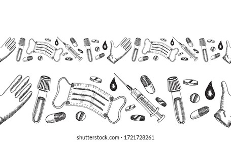 Seamless border with black medical equipment mask, disposable glove, syringe, pills, capsule, vaccine concept. HAnd drawn vector sketch illustration in realistic style. MEdicine, pandemic, pharmacy