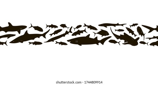 Seamless border. Black silhouettes of different fish on a white background. Set of fish silhouettes. Vector illustration Residents of the deep sea.