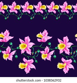 Seamless border with bright cute flowers of orchids.Tropical exotic print for fabric, textile, wallpaper.