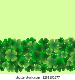 Seamless border, bright leaves of clover. Template. St. Patrick's Day design element. Vector graphics.