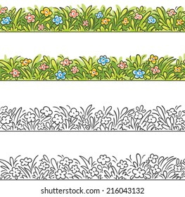 Seamless border of cartoon grass and flowers. To make it seamless please join the two parts.