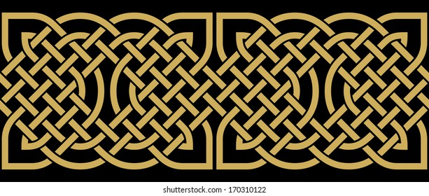 Seamless Border. Celtic Design. Ocher on Black Background