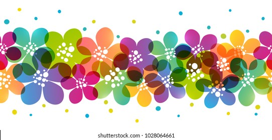 Seamless border with color flowers