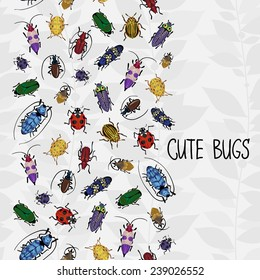 Seamless border with colorful bugs and place for text. Bright vector drawing of small beetles. Insect on the background with gray leaves. Cartoon bug wallpaper.