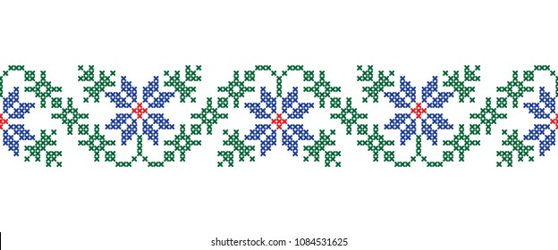 Seamless border with colorful cross-stitch ethnic Ukrainian pattern on the white background. vector.