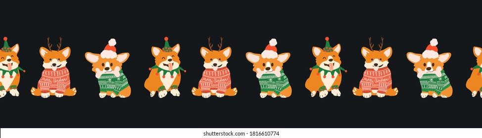 Seamless border with cute Christmas corgi in ugly sweaters, Santa hat and deers antlers. Happy dogs for Christmas party.