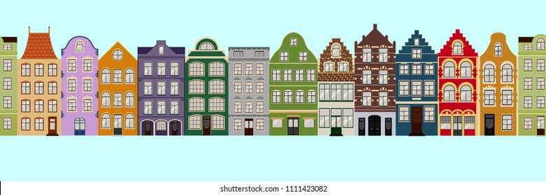 Seamless Border of Cute retro houses exterior. Collection of European building facades. Traditional architecture of Belgium and Netherlands.