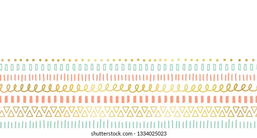 Seamless border doodle strokes, lines, triangles repeating vector pattern. Ethnic and tribal motifs, gold foil elements coral pink teal. Modern decor for card, poster, invitation, celebration, banner