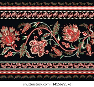 Seamless border with ethnic  ornament elements and paisleys. Folk flowers and leaves for print or embroidery