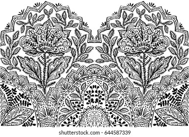 Seamless border with fantasy flowers, natural wallpaper, floral decoration curl illustration. Paisley print lace hand drawn elements. Home decor.