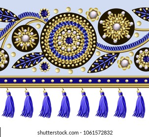 Seamless border with flowers embroidered sequins, beads and pearls and fringes for textile design.Vector fashion illustrations.