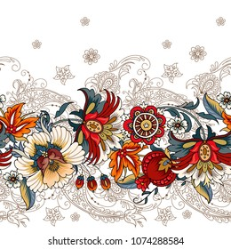 Seamless border with folk flowers