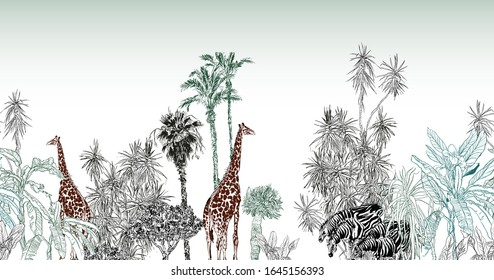 Seamless Border Giraffe and Zebras in Safari, African Landscape Panorama View, Horizontal Backdrop wih Palms and Wildlife, Children Nursery Design, Baby Textile Animals, Etching Drawing Africa Sunset
