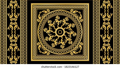 Seamless border with golden baroque elements, chains on a black background. EPS10 Illustration.