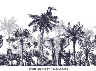Seamless border with graphical tropical tree such as palm, banana and jungle animals.