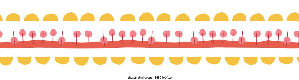 Seamless border hand drawn doodle illustration. Vector kids pattern abstract. Ribbon trim. Yellow, red, pink repeating design. Use for kids fabric, cards, birthday invites, children decor, banner