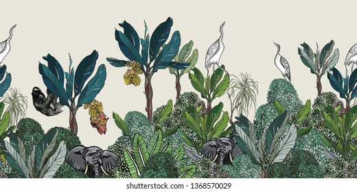 Seamless Border High End Tropical Jungles Exotic plants Sloth, Elephant and Heron Birds in Blue Banana Palms with Bushes India