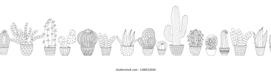 seamless border with house doodle plants