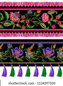 Seamless border with Indian ethnic ornament and fringes. Folk flowers and leaves for print or embroidery. Vector illustration.