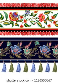 Seamless border with Indian ethnic ornament and fringes. Folk flowers and leaves for print or embroidery.