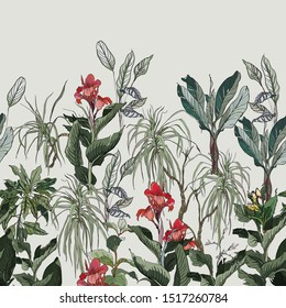 Seamless Border Jungle High End Hand Drawn Botanical Illustration Print Jungle Forest Tropical Leaves Dracena and Palms Rainforest Tropics with Exotic Flowers Hibiscus Red Blossom on Blue Background