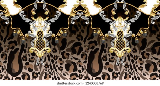 Seamless border with leopard skin and golden baroque elements