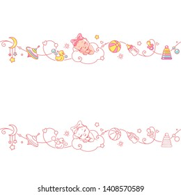 Seamless border with newborn baby girl and toys. Cute little baby in diaper sleeping with baby objects isolated. Endless baby border. Color vector illustration. Line pattern. Design template.