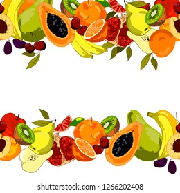 Seamless border with organic fruits, papaya, pomegranate, pears, apples, bananas, kiwi, etc., hand-drawing. Isolated on a white background. Template with a seamless fruit pattern. Vector graphics