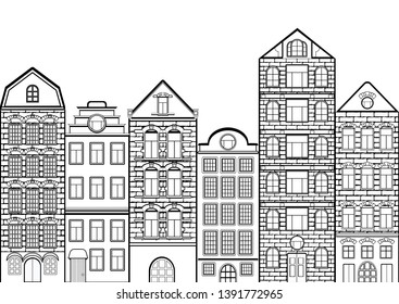 Seamless border with outline houses, contour urban landscape, black and white drawing, silhouette, coloring city background. Line European brick houses stand in row, banner, vector illustration