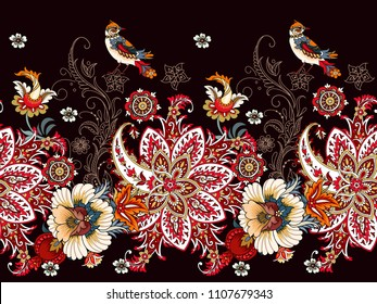 Seamless border with paisley and flowers