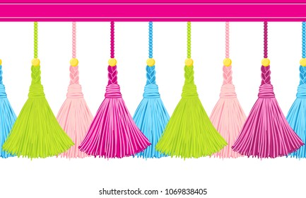 Seamless border pattern, abstract vector elements for design. Horizontal tassels from yarn or tread with beads and braid on cords, flat macrame style. Punchy pastel colors: blue, pink, green, yellow