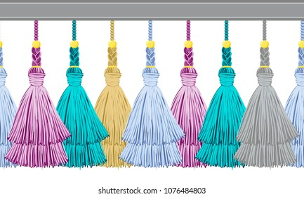 Seamless border pattern, abstract vector elements for design. Horizontal tassels from yarn or tread with beads and braid on cords, flat macrame style. Punchy pastel colors: blue, lilac, gray, gold
