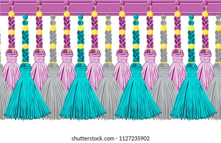Seamless border pattern, abstract vector elements for design. Horizontal tassels from yarn or tread with beads and braid on cords, flat macrame style. Punchy pastel colors – blue, pink, green, yellow