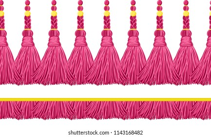 Seamless border pattern, abstract vector elements for design. Horizontal tassels, flat macrame style. Trendy colors