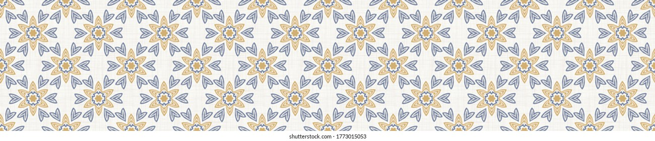 Seamless border pattern in french blue linen shabby chic style. Hand drawn floral damask texture. Old white blue background. Interior home decor edge bordure. Ornate flourish motif ribbon trim.