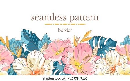 Seamless border pattern with sketch colorful blossoms. Seamless stripe with hand drawn hibiscus flowers and palm leaves. Vector illustration