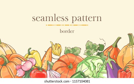 Seamless border pattern with sketch colorful vegetables and pumpkin. Seamless autumn stripe . Vector illustration