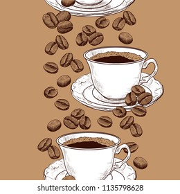 Seamless border pattern with a small cup of coffee and coffee beans. Hand-drawn vector illustration in vintage style.