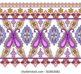 seamless border with pink purple paisley,decorated  festoons and small elements