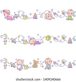 Seamless border  with playing baby boys, girls and toys. Cute little baby in pajamas  with baby objects isolated. Endless kids border. Color vector illustration. Line pattern. Design template.
