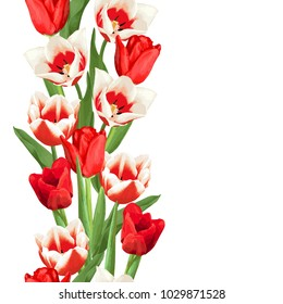 Seamless border with red and white tulips. Beautiful realistic flowers, buds and leaves.