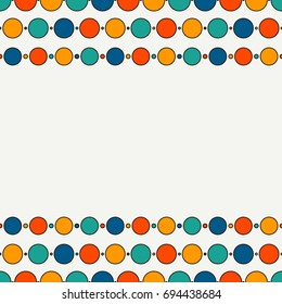 Seamless border with repeated horizontal lines and circles. Strings of beads motif. Hanging garland background. Layout for your design with place for text. Kids celebration concept. Vector art