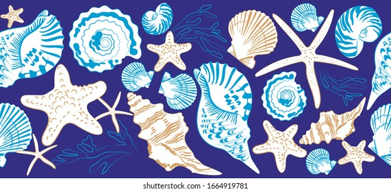 Seamless border of shells and sea stars on blue background. Hand drawn vector illustration  in vintage style. Print design for t-shirts, fabrics, sweatshirts,  wedding invitation.