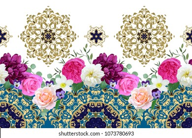 Seamless border with spring flowers and arabesques