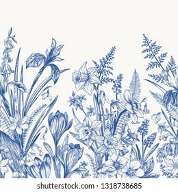 Seamless border with spring flowers. Botanical illustration. Bloe.