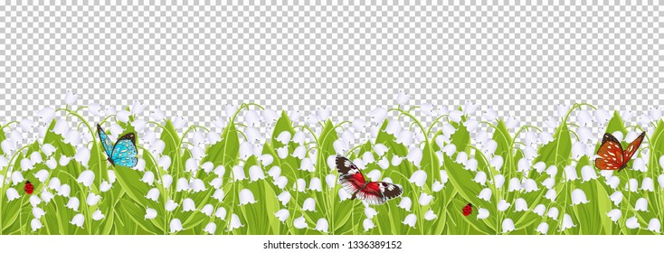 Seamless border with spring flowers lily of the valley, floral frame, vector illustration. White buds bluebell, green leaves with sitting butterflies and ladybugs isolated on transparent background