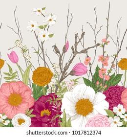 Seamless border. Spring Flowers and twig. Peonies, Spirea, Cherry Blossom, Dogwood. Vintage botanical illustration.